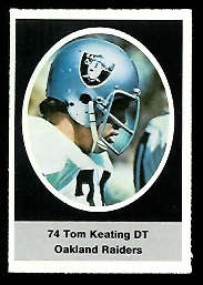 Tom Keating 1972 Sunoco Stamps football card
