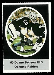 Duane Benson 1972 Sunoco Stamps football card