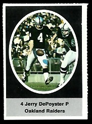 Jerry Depoyster 1972 Sunoco Stamps football card