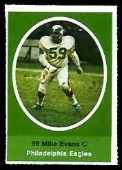 Mike Evans 1972 Sunoco Stamps football card