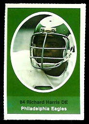 Richard Harris 1972 Sunoco Stamps football card
