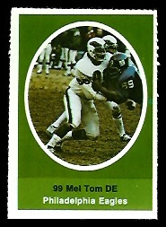 Mel Tom 1972 Sunoco Stamps football card