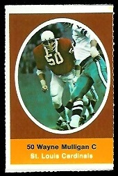 Wayne Mulligan 1972 Sunoco Stamps football card