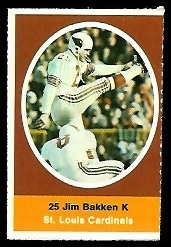 Jim Bakken 1972 Sunoco Stamps football card