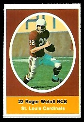 Roger Wehrli 1972 Sunoco Stamps football card