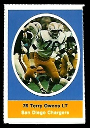 Terry Owens 1972 Sunoco Stamps football card