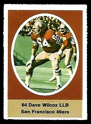 Dave Wilcox 1972 Sunoco Stamps football card