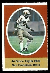 Bruce Taylor 1972 Sunoco Stamps football card