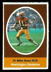 Mike Bass 1972 Sunoco Stamps football card