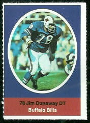 Jim Dunaway 1972 Sunoco Stamps football card