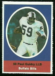 Paul Guidry 1972 Sunoco Stamps football card