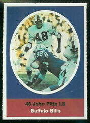 John Pitts 1972 Sunoco Stamps football card