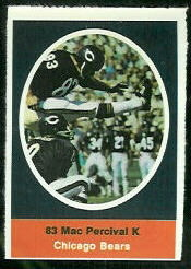 Mac Percival 1972 Sunoco Stamps football card