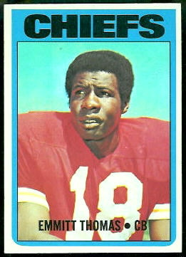 1972 Topps Emmitt Thomas rookie football card