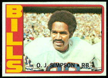 O.J. Simpson 1972 Topps football card