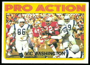 Vic Washington Pro Action 1972 Topps football card