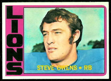 Steve Owens 1972 Topps football card