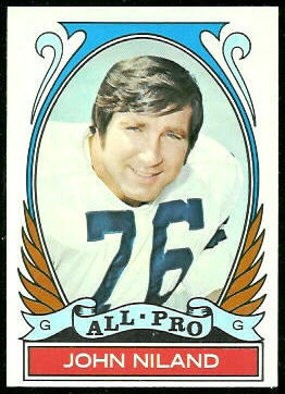 John Niland All-Pro 1972 Topps football card