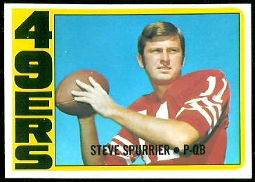 Steve Spurrier 1972 Topps football card