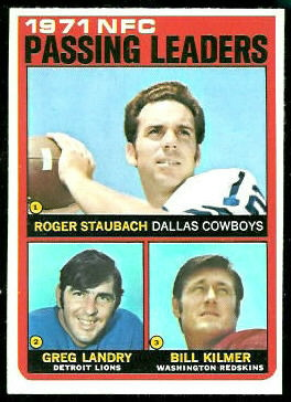 1971 NFC Passing Leaders 1972 Topps football card