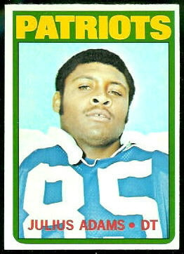 Julius Adams 1972 Topps football card