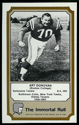 Art Donovan 1974 Fleer Immortal Roll football card