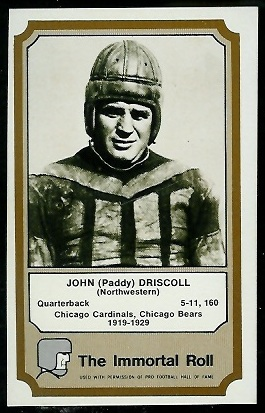Paddy Driscoll 1974 Fleer Immortal Roll football card