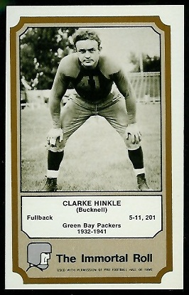 Clarke Hinkle 1974 Fleer Immortal Roll football card