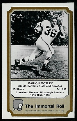 Marion Motley 1974 Fleer Immortal Roll football card