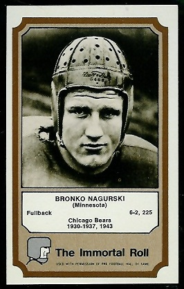 Bronko Nagurski 1974 Fleer Immortal Roll football card