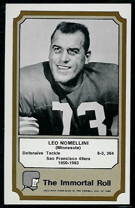 Leo Nomellini 1974 Fleer Immortal Roll football card