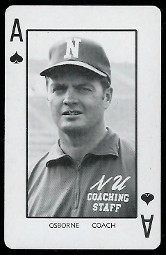 Tom Osborne 1974 Nebraska Playing Cards football card