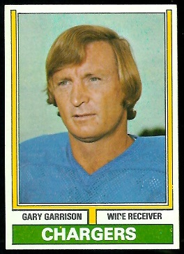 Gary Garrison 1974 Parker Brothers football card
