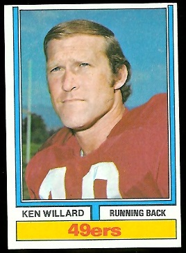 Ken Willard 1974 Parker Brothers football card