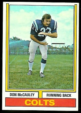 Don McCauley 1974 Parker Brothers football card