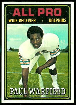 Paul Warfield All-Pro 1974 Topps football card