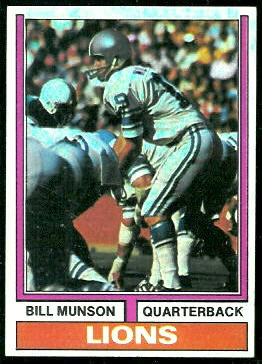 Bill Munson 1974 Topps football card