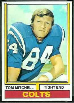 Tom Mitchell 1974 Topps football card