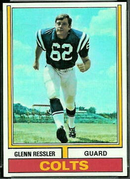 Glenn Ressler 1974 Topps football card