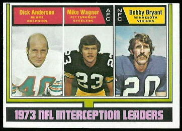 1973 Interception Leaders 1974 Topps football card