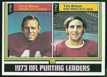 1973 Punting Leaders 1974 Topps football card