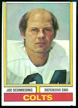 Joe Schmiesing 1974 Topps football card