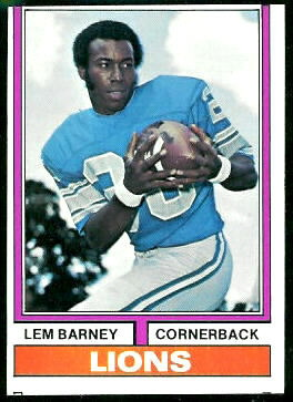 Lem Barney 1974 Topps football card