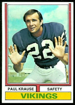 Paul Krause 1974 Topps football card