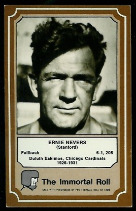 Ernie Nevers 1975 Fleer Immortal Roll football card