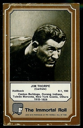 Jim Thorpe 1975 Fleer Immortal Roll football card