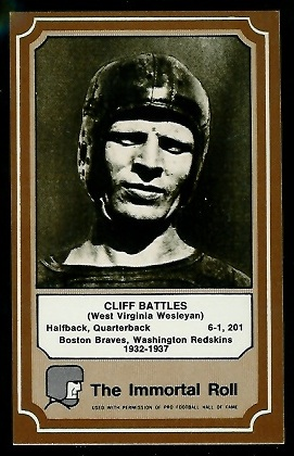 Cliff Battles 1975 Fleer Immortal Roll football card