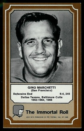 Gino Marchetti 1975 Fleer Immortal Roll football card