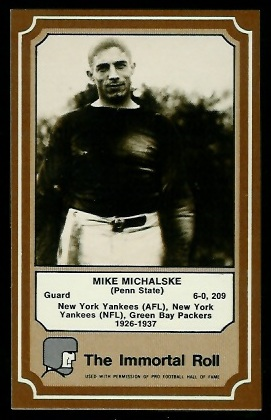 Mike Michalske 1975 Fleer Immortal Roll football card