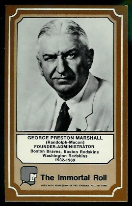 George Preston Marshall 1975 Fleer Immortal Roll football card